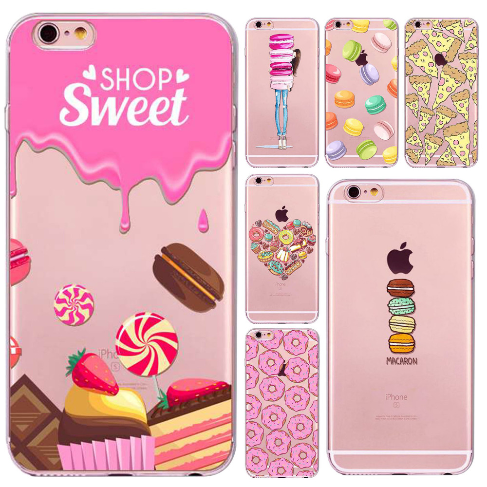 Case Cover For iphone 6plus/6splus 5.5 Inch Dessert Macaroon Ice cream Cupcake Soft Sillicon Clear Phone Case bag Accessory(China)