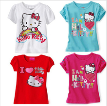 Clearance! Baby Girls Cartoon hello kitty T Shirt Kids Short Sleeve T-shirt Children summer tops tee kids wear(China)