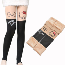 Girl winter leggings plus velvet panty-hose hello kitty warm leggings for girls false tube splicing pant baby girl clothes