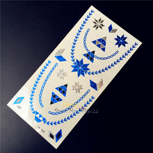 Blue Color Diamonds Fake Temorary Stickers HBM-T005 Choker Style Necklace Kids Snow Winter Design Merry Christmas Gift Children(China)