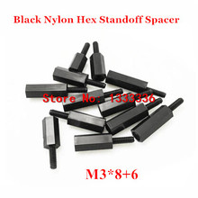 100pcs M3*8+6 Black Nylon Hex Standoff Spacer Male - Female 6mm Thread Plastic Hexagon Pillar Screw Nut