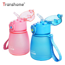 Transhome Plastic Kids Water Bottle With Straw 300ml Travel Sports Water Kettle With Rope Eco-friendly BPA Free Tea Kids Bottle(China)
