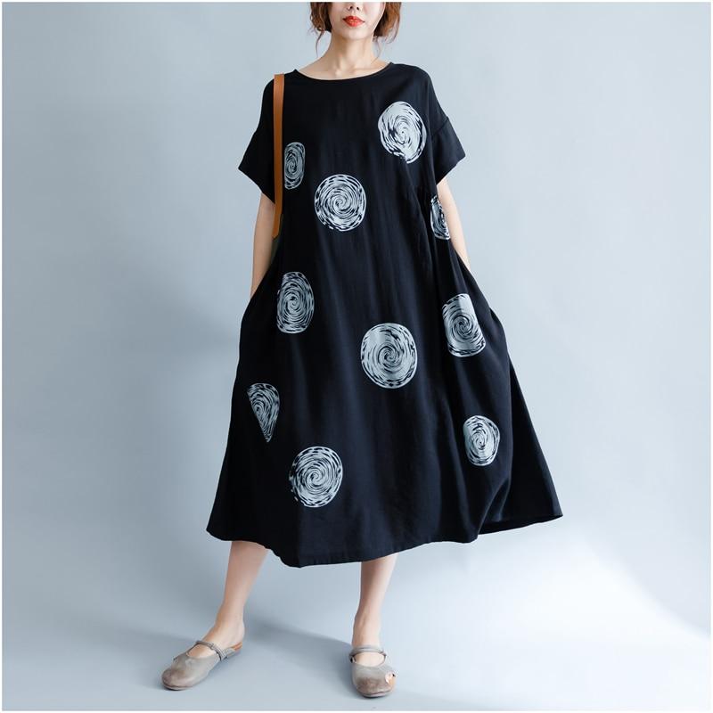 DIMANAF Women Summer Dress Big Size Cotton Linen Casual Soft Style Black Polka Dot Oversized Loose Female Sundress Clothing 2018 12
