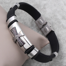 Punk Cross Silicone Bracelets & Bangles Stainless Steel And Black Genuine Rubber Men Wristbands Fashion Jewelry(China)