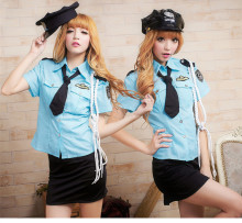 anime police uniform for women blue police cosplay clothing halloween cosplay clothing chinese police suit(China)