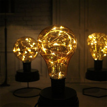 1X Elegant Bulb Shape Led Night Lamp, 3 Shapes Table Decorative Star Led Copper Wire String Light Lamp for Bar/Coffee Shop