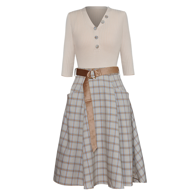 New Women White V-Neck Top And Plaid Skirt Set With Belt J9204