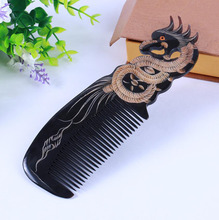 Natural horn comb Pure hand honing  hand-carved art,  dragon and phoenix presented the comb head blood circulation beauty