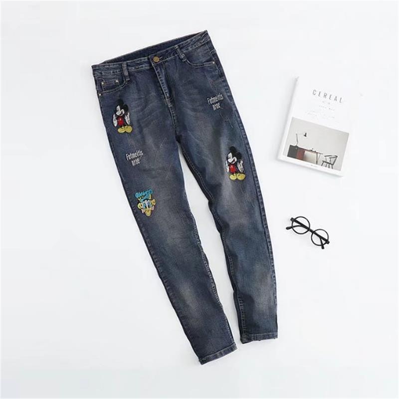 Plus size Embroidered denim clothing women high waist Full Length Straight jeans woman 2017 new pantalon femme jeans RegularÎäåæäà è àêñåññóàðû<br><br>
