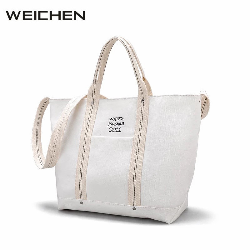 Canvas Bag White Embroidery Letter Women Handbags Casual Large Capacity Female Crossbody Bag Cell Phone Pocket Female Canva Bags<br>