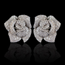 New design micro pave AAA zircon rose flower stud earrings for women/girls,high quality CZ party/wedding jewelry earring(China)