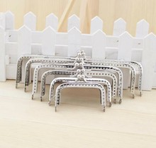Silver Square Coins Purse Frames Metal Kiss Clasp Bags Making Supplies DIY 6.5 8.5 10 12 15 18CM Complete specifications 6pcs(China)
