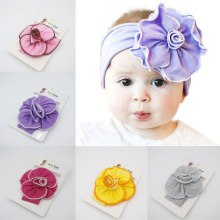 Cotton headband for baby girls Flower Head Wrap Cute Hair Accessories Hair Band Newborn Infant toddler Children Turban(China)