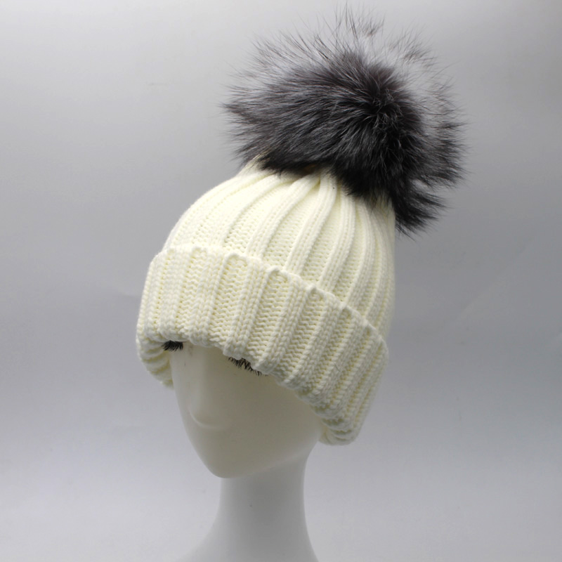 Fashion Winter Women Real Silver Fox Fur Ball Hats Winter Warm Thick Knitted Beanies Pom Pom Hat Used below zero Одежда и ак�е��уары<br><br><br>Aliexpress