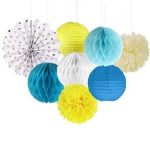 8 (Blue Yellow white) Paper Decoration Set (Paper Lantern,Paper Fans,Pom Pom,Honeycomb Balls) for Wedding Birthday Party Nursery(China)