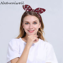 Naturalwell Red Bendable Twist top Knot Headband with Wire inside Women Rockabilly Style Headbands Girls Flower Headwrap WH027