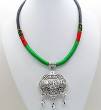 Tribal Exotic Chinese Miao hand Rope Knitted Chain Silver pendant Necklace