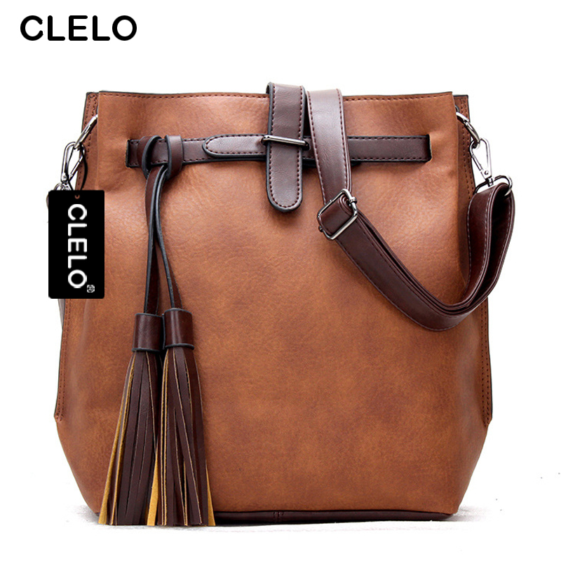 CLELO Women Messenger Bags Brand Vintage Tassel Shoulder Bag Fashion High Quality PU Large Capacity Bucket bag Crossbody Bags<br><br>Aliexpress