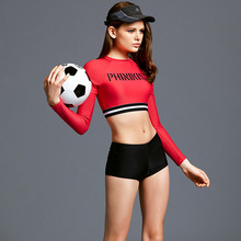 Two Pieces Football Girls Woman Swimming Suit Shirt Woman Boxer Shorts Woman Swimwear Beach Sports Suits Yoga Fittness Clothing
