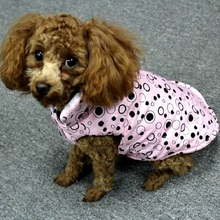 Winter Warm Dog Clothes Pink, Rose Red Color Dog Warm Coats with Polka Dot Printing with Big Bow Cotton Padded Dog Clothes