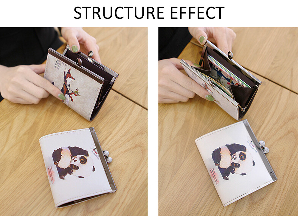 Cartoon Women Wallet Leather Women Purse Fox Female Bags Coin Purse Cute Small Wallets Short Animale Prints Girls Money Bag Lady 5