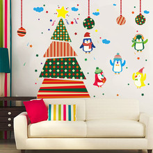 2017 new Wall Stickers home decor Christmas Tree Penguins Wall Stickers Window Glass Door Decoration Wall Sticker vinilos parede(China)