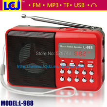 Free shipping  L-988 portable FM digital radio digital mini speaker music MP3 player with radio support TF mirco SD card and USB