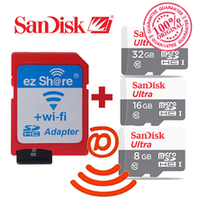 100% original ezshare Wireless wifi adapter+Sandisk Ultra 16gb 32gb 8gb class10 micro sd wifi wireless TF MicroSD Card(China)