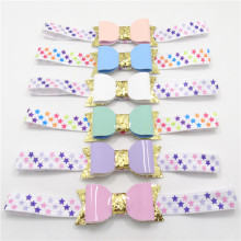 10pc/lot Newborn Star Headband Gold Glitter Faux Leather Bow Stretch Head Band Colorful Star Print Hairband Purple Head Wrap