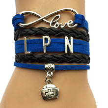 Drop Shipping  Infinity Love LPN Bracelet Nurse Charm Job  Career Blue with Black  Custom Leather Wrapped Bracelet Bangle