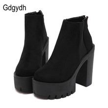 Gdgydh Fashion Black Ankle Boots For Women Thick Heels 2017 New Autumn Flock Platform Shoes High Heels Black Zipper Ladies Boots(China)