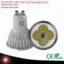 1pcs GU10 Base 9W 12W 15W HIGH POWER LED bulb White/Warm/Cool White AC/110V 220V 230V LED LAMP