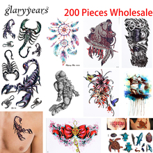 200 Pieces Wholesale Temporary Tattoo Modern Style Geometric Flower Bird Picture Design Henna Arm Body Art Tattoo Sticker Unisex(China)