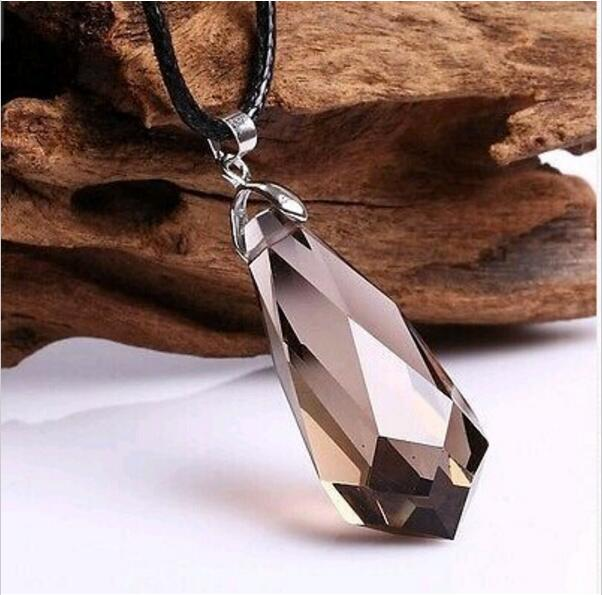 NOS LARGE FACETED CLEAR QUARTZ HEALING CRYSTAL STERLING SILVER PENDANT HOLISTIC
