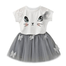 Baby Girl's Toddler's Kid's Clothes T-Shirt Tee Top + Mesh Tutu Skirt Dress With Appliques 2 Piece Set Baby Girl Clothes F1(China)