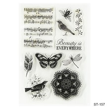 1pc Transparent Clear Stamp Seals For DIY Scrapbooking Card Making Photo Album Decoration Supplies Music/Bird/Butterfly(China)