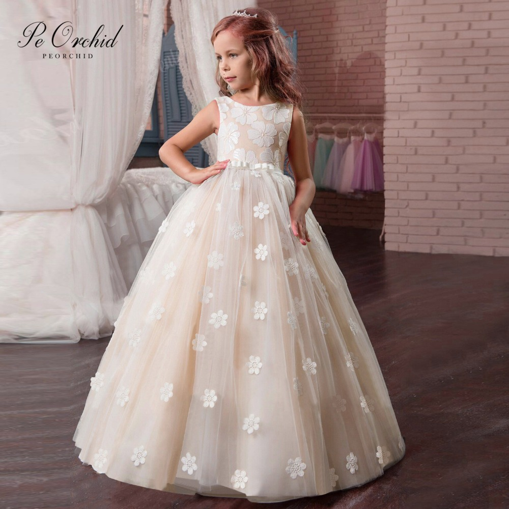 PEORCHID Vintage Primera Comunion 2019 Floor Length Floral Child Evening Gown For Girls Kids Flower Girls Dresses Tulle