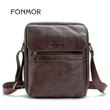 FONMOR High Quality Genuine Leather Men Shoulder Crossbody Bag Satchel Cowhide Leisure iPad Messenger Bag Man Vertical Sac