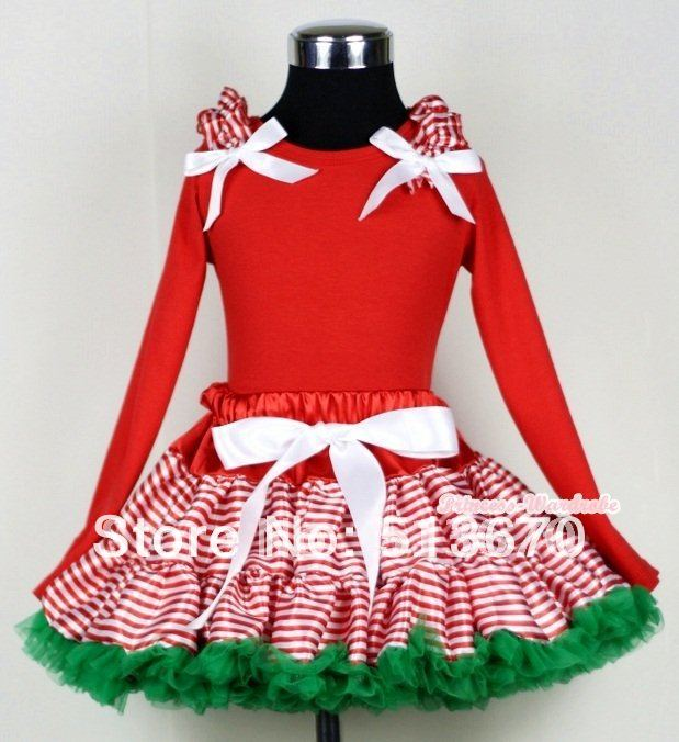 Xmas Red White Striped mix Xmas Green Pettiskirt with Red Long Sleeves Top with &amp; Red White Striped Ruffles &amp; White Bow MAMB08<br>