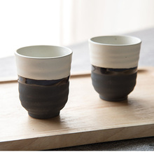 2PCS/Lot 150ML Japanese-style Ink Ceramic Rough Pottery Teacup Office Coffee Milk Mug Kung Fu Tea Set Handmade Brief Water Cup(China)