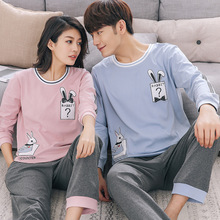 100% Cotton Couple Pajamas Set Autumn Winter Men And Women Long Sleeve Pyjamas Lovers Sleepwear Nightwear Homewear Home Clothing(China)