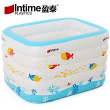 Intime 143cm Inflatable Swimming Pool Baby Bathtub Children Kids Outdoor Indoor Activities 143x105x80cm White Printed(China)