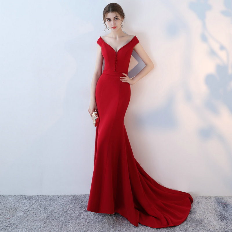 Elegant Burgund Mermaid Bridesmaid Dresses 2018 New Sexy Bridesmaid Dress Long V-Neck Elastic Satin Crystal wedding Party Gowns 3
