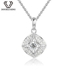 DOUBLE-R Natural Diamond Pendant Square Shape With Silver Chain 18K White Gold Necklace New Diamond Jewelry Mother's Day Gift