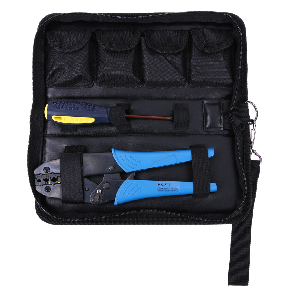 Crimping Tool Kit Crimp Pliers 5Dies Ratchet Crimper 1 x Crimping tool 0.5-6mm2 + 1 x Screw Driver + 4 x Dies Hand Tools Set<br>