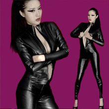 Buy New Ladies Sexy Front Zipper Jumpsuit Gothic Fetish Clubwear Queen loaded Latex Faux Leather Catsuit Club Bar Costume