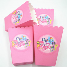 6pcs/lot My Little Pony Party Supplies Popcorn Box Gift Box Favor Accessory girls Birthday Party Supplies  Event Party Supplies