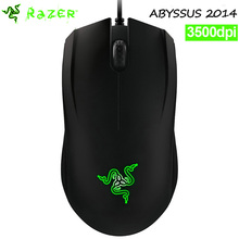 Razer Abyssus 2014 Computer Gaming Mouse 3500DPI Ambidextrous Optical sensor green light mice without retail box(China)