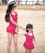 Mother and Girls Swimming Clothing Super Quality Dot One-piece Family Holiday Swim Set Mom and Daughter Swimwear(China)