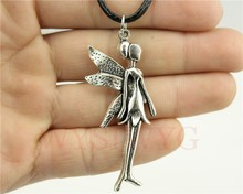 12pcs/lot Wholesale fashion 22*58mm Fairy pendant leather necklace, Angel pendant Necklace